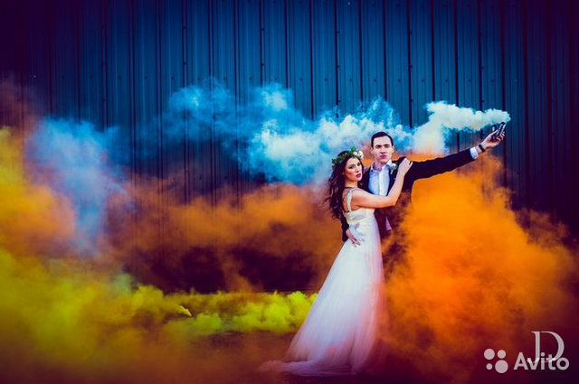 Smoke bomb at wedding