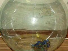 Аквариум круглый большой с плоским дном