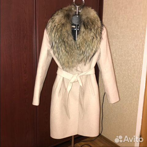4e7283e8b3c Зимнее пальто бежевое с меховым воротником