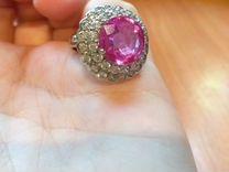 Серебрянное кольцо с розовым турмалином