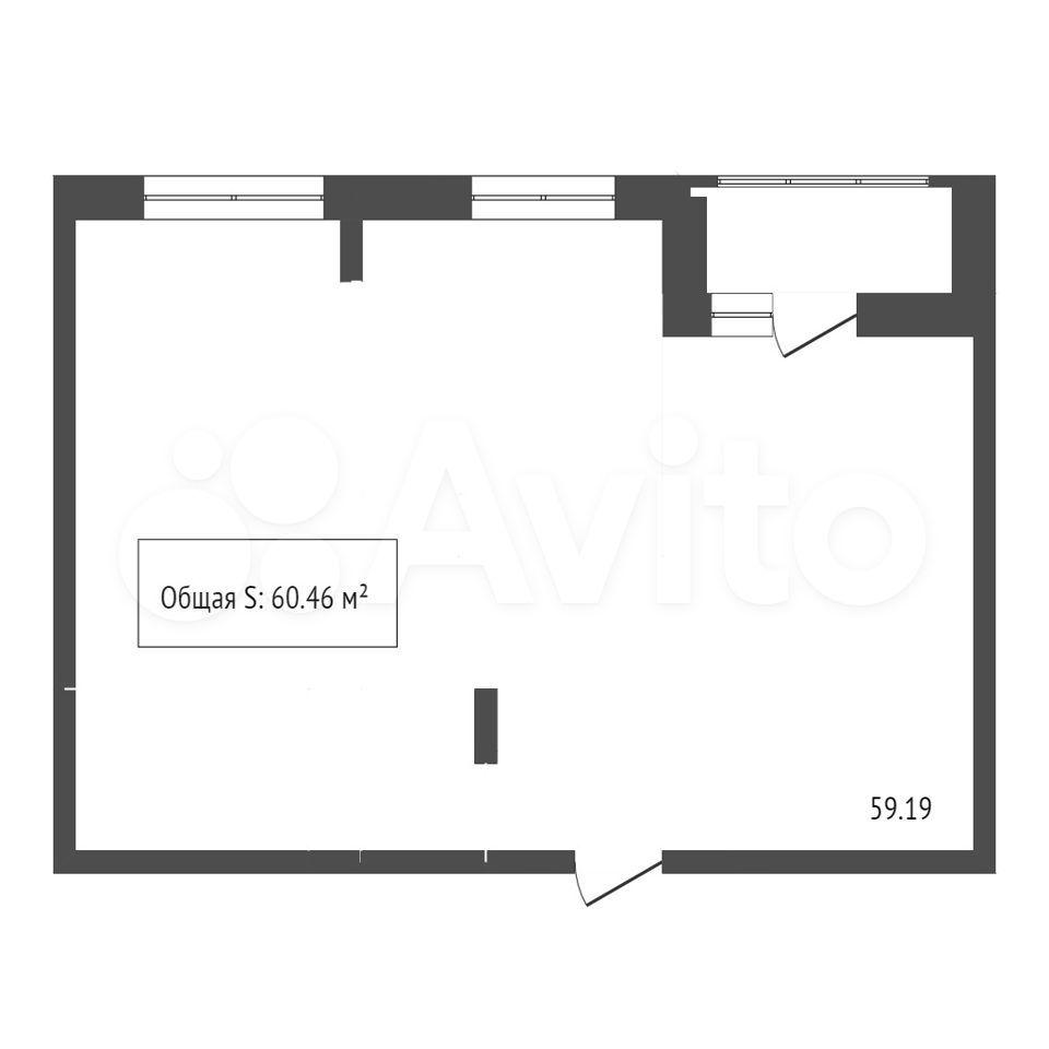 2-к квартира, 60.5 м², 1/12 эт.